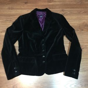 Tommy Hilfiger Black 5 Button Velvet Blazer